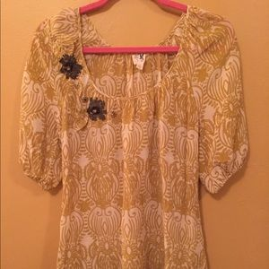Yellow/Gold Blouse with Floral Beading